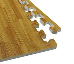 Foam tiles that look like wood, this would be great for a home gym!