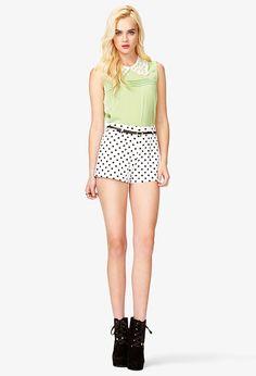 High-Waisted Polka Dot Shorts - Women - 2040996044 - Forever 21 UK