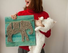 Elephant string board / modern art / hand made / decor / design / string art / slon