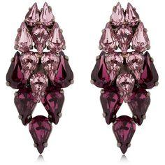Ellen Conde Women Brilliant Jewelry Gradient Earrings (835 BRL) ❤ liked on Polyvore featuring jewelry, earrings, brincos, purple, swarovski crystal earrings, post back earrings, swarovski crystal jewelry, nickel free earrings and purple earrings