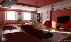 Rode woonkamer voorbeeld. Mooie rood voor de woonkamer.