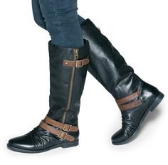 Calf length buckle boots- they'll go great with a few things I've got in the closet!