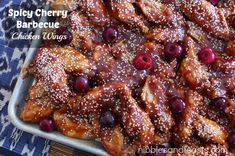 Spicy Cherry Barbecue Chicken Wings - Nibbles and Feasts Bbq Chicken Wings, Barbecue Chicken, Chicken Wing Recipes, Eat More Chikin, Cherry Recipes, Tasty Bites, Fabulous Foods, Turkey Recipes, Catering