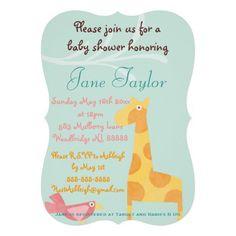 Blue Mod Animal Baby Shower Invitations