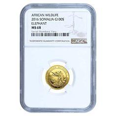 2016 Somalia 1/10 oz Gold African Elephant NGC MS 68