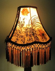 Antique glass seed bead light sconce lamp shade floral fringe victorian era yellowgold blue glass beaded tassle fringe lamp shade stunning mozeypictures Gallery