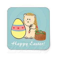 Happy Easter: Cute Hedgehog painting egg Stickers