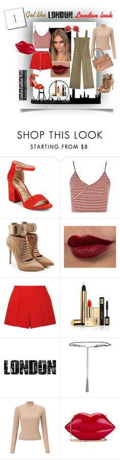 """Get the London Look!"" by housebybianca ❤ liked on Polyvore featuring Sam Edelman, Topshop, Puma, Alice + Olivia, Yves Saint Laurent, Tim Holtz, St. John, Miss Selfridge and Lulu Guinness"