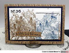 Darkroom Door Birds On Tree Photo Stamp. Card by Connie Mercer.