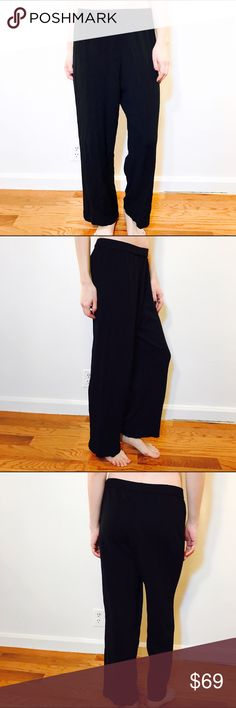 """EILEEN FISHER KNIT WIDE LEG PANTS ELASTIC WAIST EILEEN FISHER, Size M, black stretchy wide leg pant, elastic waist.  CONDITION: EUC No issues.  CHEST:  WAIST: 30"""" LENGTH: 36"""" INSEAM: 25.5"""" *All measurements taken while item is laid flat (doubled when necessary) and measured across the front  MODEL: 5'8""""  MATERIAL: Rayon Nylon  STRETCH: Yes INSTAGRAM @ORNAMENTALSTONE 🚫Trading Eileen Fisher Pants Wide Leg"""