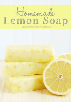 """Easy Homemade Lemon Soap.. """"Homemade lemon soap is easy to make with only 3 ingredients required. Makes a wonderful Mother's Day gift!"""""""