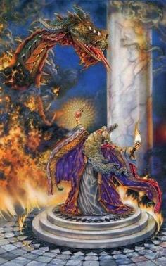 Wizard vs. dragon