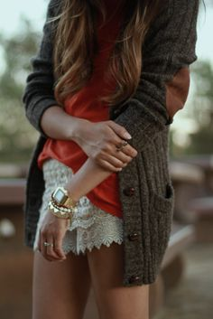 I'm loving the delicate lace shorts with the tough elbow patch accent.
