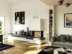 Kachelofen Modern Produkte - moderne Kamine & Kachelöfen vom Profi Entryway, Wood Burning, Stove, Furniture, Home Decor, Contemporary Fireplaces, Fireplace Heater, Tiling, Contemporary Design