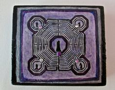 Small Mystery Labyrinth on Wood, Magnet, Available on Etsy. Virginia, Mystery, Art Pieces, Meditation, Challenge, Wood, Handmade, Painting, Madeira