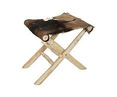 Sgabello in pelle e legno - 45x45x40 cm