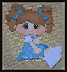 Sitting Girl Premade Scrapbooking Embellishment by MyCraftopia