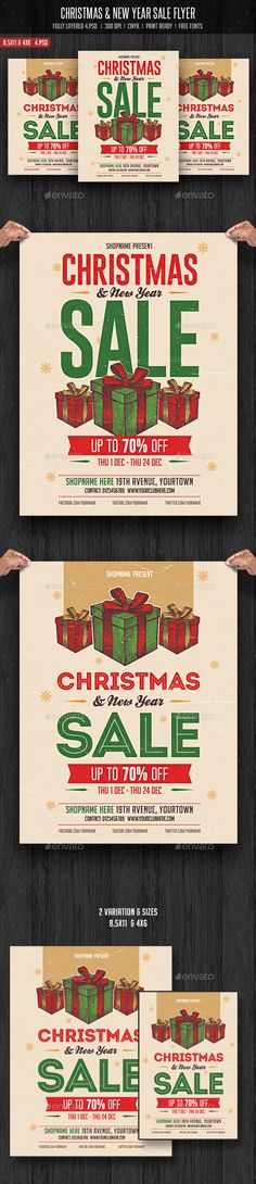 Christmas & New Year Sale Flyer Template PSD #design #xmas Download: http://graphicriver.net/item/christmas-new-year-sale-flyer/13522363?ref=ksioks