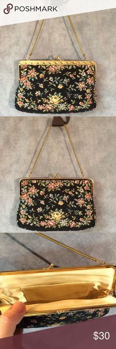 Tapestry Evening Bag  Tapestry Evening Bag  Lovely, clean, the perfect size for an evening out. One interior pocket and metal chain handle. Vintage Bags Clutches & Wristlets