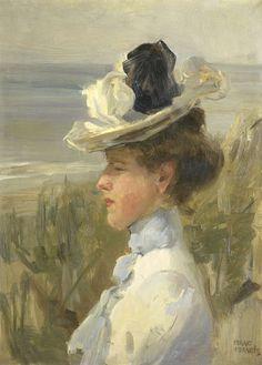 ▴ Artistic Accessories ▴ clothes, jewelry, hats in art - Isaac Israels | Jong vrouw, uitkijkend over zee, c. 1895-1900