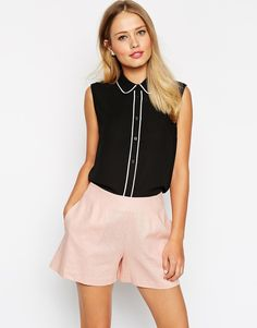 Image 1 of ASOS Sleeveless Blouse With Contrast Piping