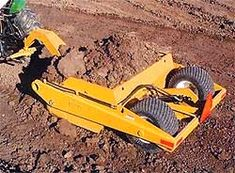 """Dump Bowl Scraper, The """"Dump-Bowl"""" Scraper gives real earth moving ability to small tractors. Move dirt fast, with agility and efficiency from one location to another, without dragging it over grass or sidewalks. Pulled behind a 35-50hp tractor, this unit can dig ponds and ditches, shape playgrounds and golf courses, or level roads and driveways."""