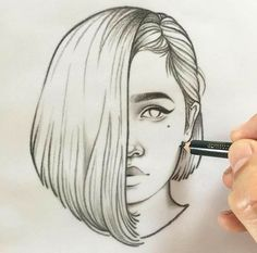 Forever by Rik Lee drawings sketches Blue Red and Black Line Portrait Sketches Tumblr Girl Drawing, Tumblr Sketches, Girl Drawing Sketches, Cool Art Drawings, Portrait Sketches, Pencil Art Drawings, Beautiful Drawings, Illustration Sketches, Pencil Drawing Tutorials