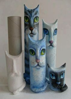 """I saw this on """"Me gusta reciclar"""" - on Facebook. Their directions: Toilet paper roll - form into cats with toilet paper, and some white glue, painted with acrylic paint."""