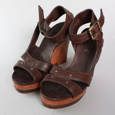SS15 Chloé Ladies Dark Brown Leather Wedge Heel Sandals #Chlo #PlatformsWedges
