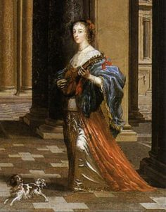 1639 (before) Detail from Queen Henrietta Maria by Cornelis Janssens van Ceulen (private collection). From Wikimedia. Henrietta Maria, House Of Stuart, British Monarchy, Cornelius, Dog Paintings, 8th Of March, London Art, King Charles, Art Market