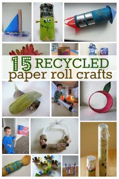 15 Recycled Paper Roll Crafts For Earth Day - most everyone has a few paper rolls hanging around! 15 Recycled Paper Roll Crafts For Earth Day - most everyone has a few Craft Activities For Kids, Preschool Crafts, Projects For Kids, Diy For Kids, Craft Projects, Toilet Paper Roll Crafts, Paper Crafts, Paper Paper, Crafts To Do