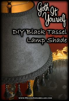 Transform a thrift store find into this DIY Victorian Gothic Black Lamp Shade. Learn how to paint the inside and outside of the shade and add tassels for some whimsy! Victorian Floor Lamps, Victorian Bedroom, Victorian Decor, Victorian Dresses, Diy Victorian Furniture, Gothic Room, Gothic House, Antique Furniture, Goth Home Decor