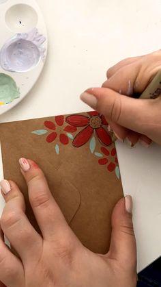 Diy Arts And Crafts, Crafts To Do, Mail Art Envelopes, Paper Art, Paper Crafts, Pen Pal Letters, Envelope Art, Diy Canvas Art, Handmade Birthday Cards