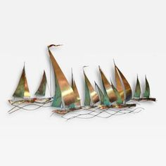 Curtis Jeré - Curtis Jere Sailboat Wall Sculpture, 1971 offered by Glen Leroux Antiques, Inc. on InCollect Wall Sculptures, Sculpture Art, Sailboat Interior, Fused Glass Art, Stained Glass, Metal Wall Art Decor, Art For Art Sake, Abstract Art, Antiques