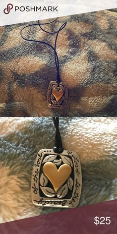 Necklace Necklace comes with leather chain, silver with gold heart, words on silver Jewelry Necklaces