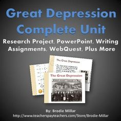 the great depression history in a box scavenger hunt research a unit for the great depression that covers the major events people and themes of