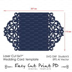 Wedding invitation Pattern Card Template Lace by EasyCutPrintPD