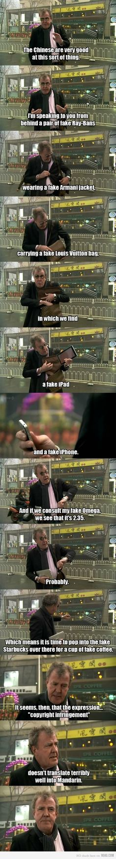 Top Gear, oh Jeremy Clarkson you never fail to make me laugh.