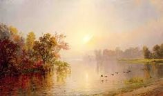 Jasper Francis Cropsey Hazy Afternoon, Autumn, 1873 hand painted oil painting reproduction on canvas by artist Oil Painting Gallery, Oil Painting For Sale, Paintings For Sale, Hudson River School, Oil Painting Reproductions, State Art, Beautiful Paintings, American Art, Landscape Paintings