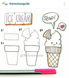 A cute ice cream drawing step by step