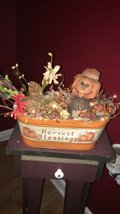 Primitive fall lighted tin bucket https://m.facebook.com/pages/The-Cozy-Country-Craft-House/575638289196544
