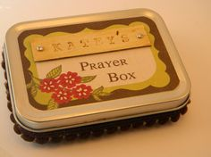Personalized Prayer Box  red green & brown with by inawecards, $12.00
