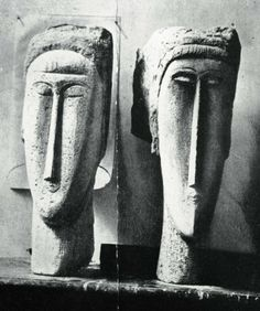 Amedeo Modigliani - stone scuptures photographed in 1911 Amedeo Modigliani, Pablo Picasso, Chaim Soutine, Moise, Paint Photography, Museum Store, Portraits, Italian Artist, Figure Painting