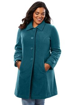 a50e644042 Roamans Women's Plus Size Plush Fleece Jacket - Midnight Teal, ...