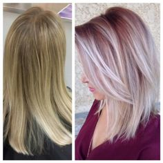Kristen Kologie (@bobandpage) owner of Bob and Page, Winnipeg Manitoba, shares the details for this amazing transformation. Kologie is the person in the photo sporting a color design by lead stylist Kristen Coy who formulated this shade on a highlighted level 7/8: STEP 1: To zone 1 & 2 (painted lower underneath as well) formula: 1 oz 03RB + 2oz 09RB in Redken Shades EQ Gloss. Process for 20 mnutes. STEP 2: Balayage with Redken Flash Lift 30 volume and Olaplex. Process for 25 minutes.