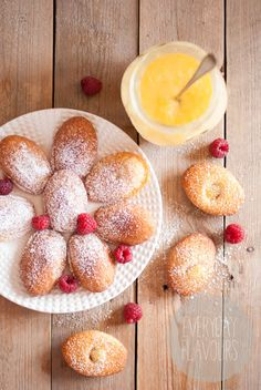 Madeleines with Raspberries and Lemon Curd--I have made these and they are fab!!
