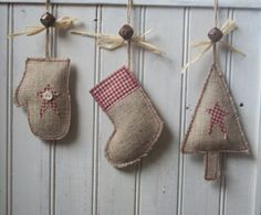 Rustic Burlap Christmas Stocking Decoration with Rusty Bell