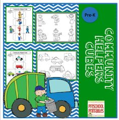 Community Helpers Color Cube from Preschool Printables on TeachersNotebook.com -  (13 pages)  - Roll the cubes and color