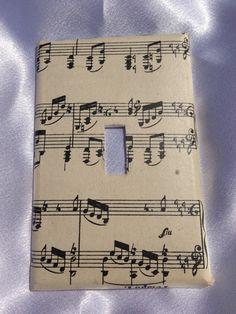 Sheet Music Light Switch Cover. $music #musiccrafts #crafts  http://www.pinterest.com/TheHitman14/musical-crafts-%2B/