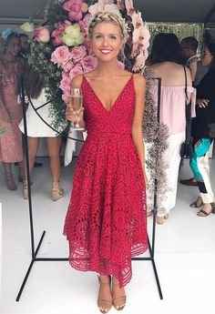 party dresses, red lace party dresses, cute v-neck short prom dresses, chic bridesmaid dresses, simple bridesmaid dresses
